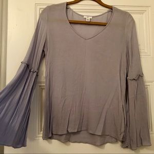Baby blue BP flared long sleeve blouse